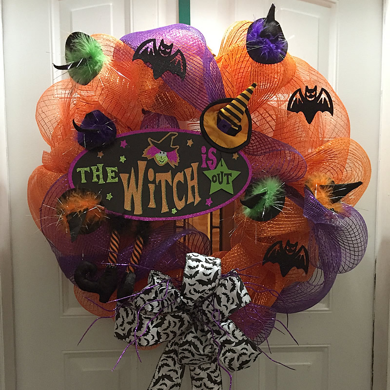 Decomesh Halloween Wreath With Plaque Wreaths By Jenn